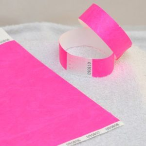 100 PRINTED WRISTBANDS, tyvek, paper like, adjustable, durable, waterproof party